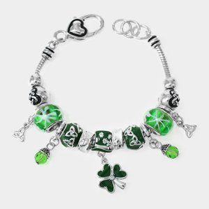 St Patricks Day Trinity Shamrock charm bracelet